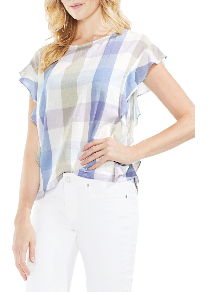 Vince Camuto Pastel Haze Plaid Ruffle Sleeve Top