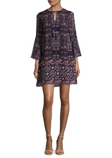 Vince Camuto Patterned Bell-Sleeve Shift Dress