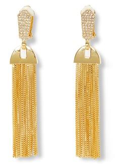 Vince Camuto Pavé & Chain Tassel Clip-On Drop Earrings