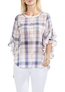 Vince Camuto Pavilion Plaid Flutter Sleeve Top