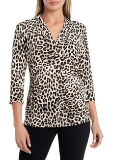 Vince Camuto Perfect Leopard Print Ruched Top