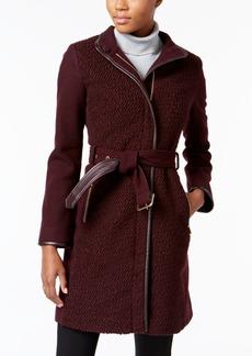 Vince Camuto Petite Faux-Leather-Trim Boucle Coat