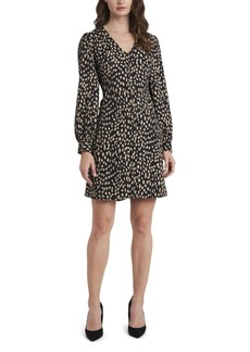 Vince Camuto Petite Long Sleeve Animal Print V-Neck Dress