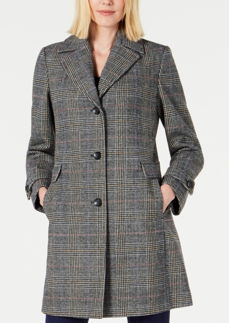 Vince Camuto Single-Breasted Plaid Coat, Created for Macy's