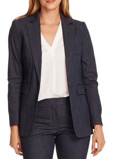 Vince Camuto Pickstitch One-Button Cotton Blend Blazer