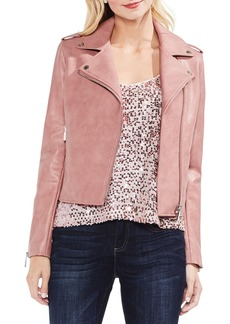 Vince Camuto Pink Faux Leather Moto Jacket