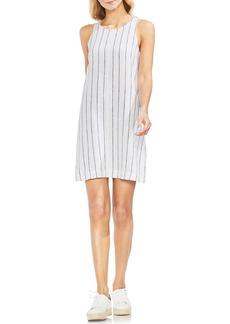 Vince Camuto Pinstripe Sleeveless Linen Blend Dress