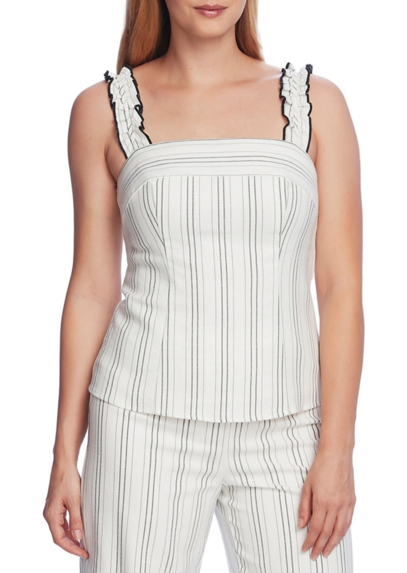 Vince Camuto Pinstriped Ruffle Strap Tank Top