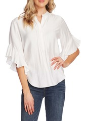 Vince Camuto Pintuck Detail Flutter Sleeve Rumple Satin Blouse