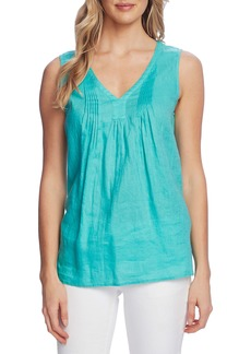 Vince Camuto Pintuck Sleeveless Linen Top