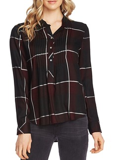 VINCE CAMUTO Pintucked Windowpane-Plaid Top