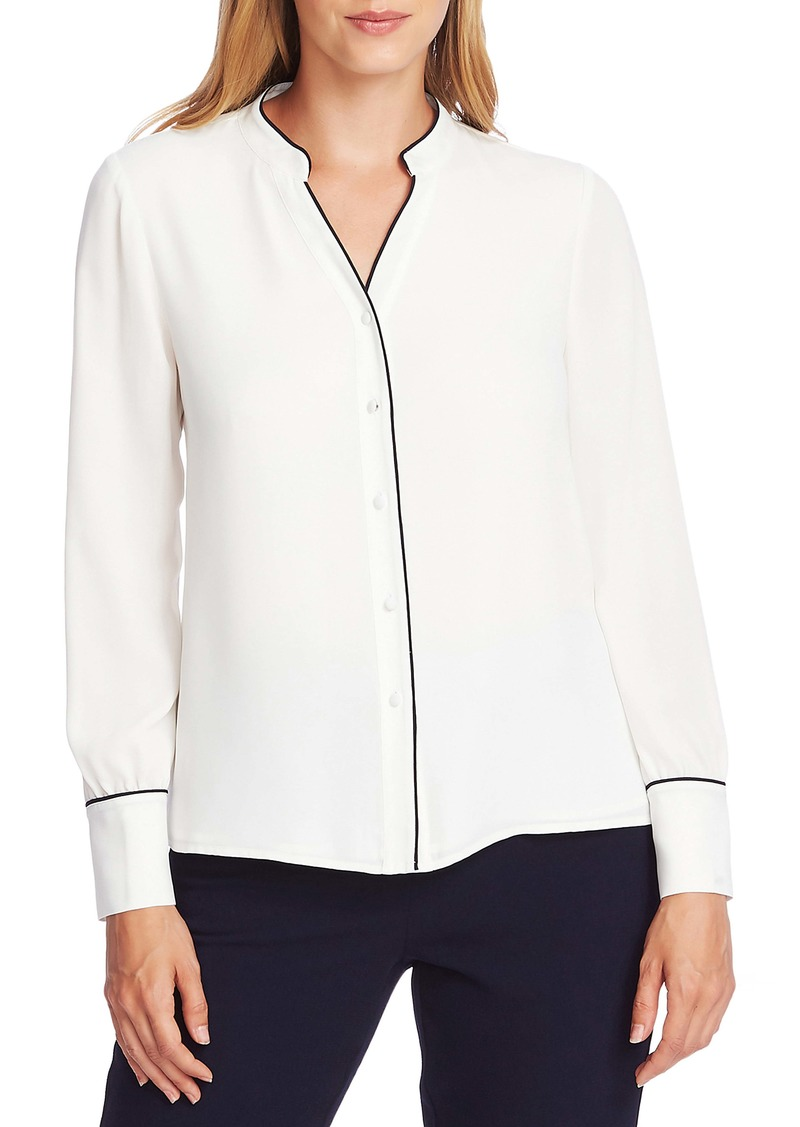 Vince Camuto Piped Button Up Blouse