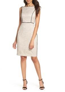 Vince Camuto Piped Lace Sheath Dress (Regular & Petite)