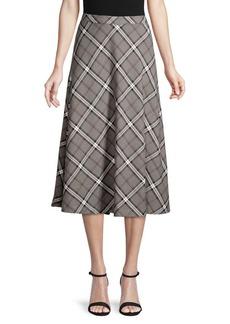 Vince Camuto Plaid A-Line Midi Skirt