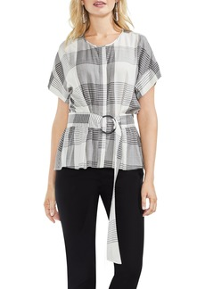Vince Camuto Plaid Belted Top (Regular & Petite)