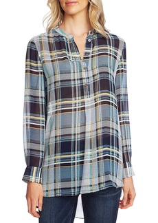 Vince Camuto Plaid Elements Henley Chiffon Tunic Top