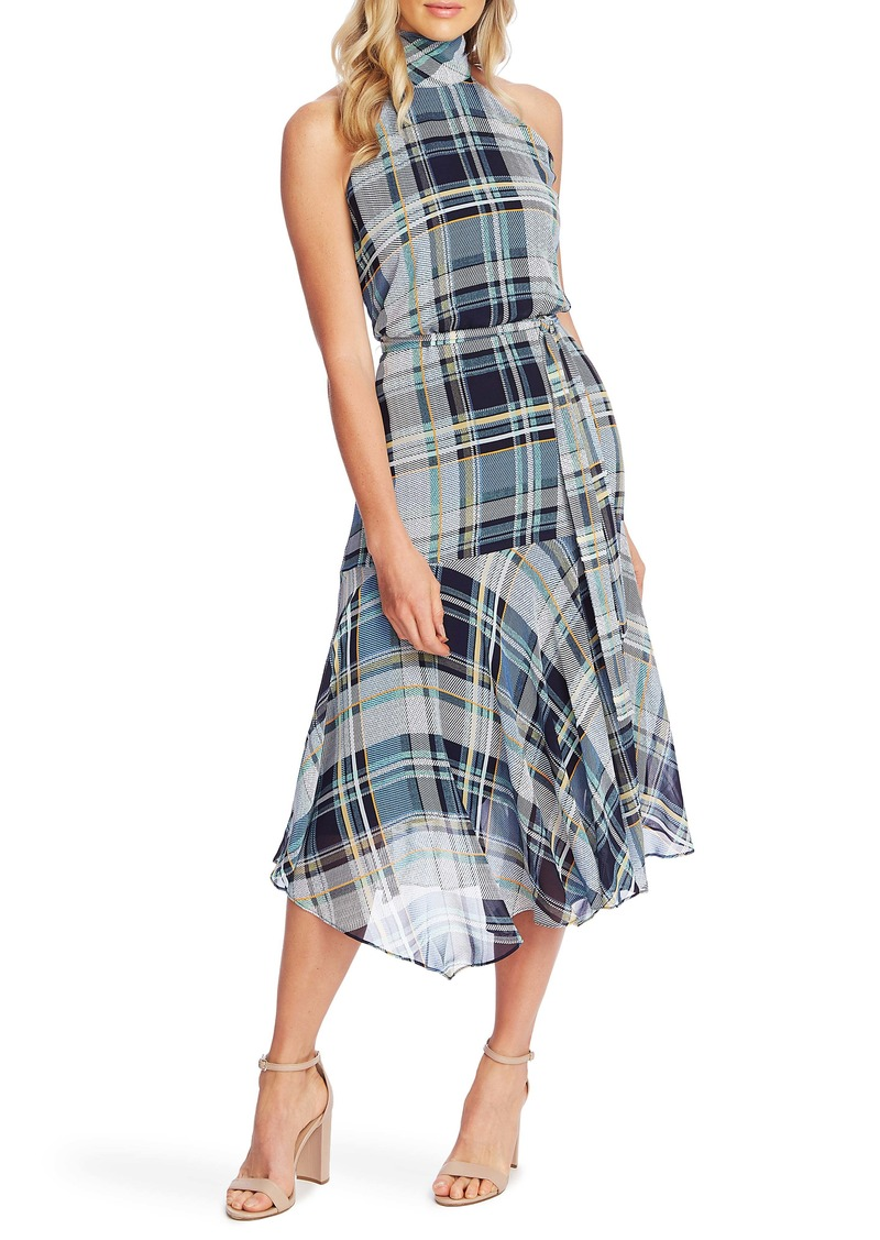 Vince Camuto Plaid Elements Sleeveless Mock Neck Dress