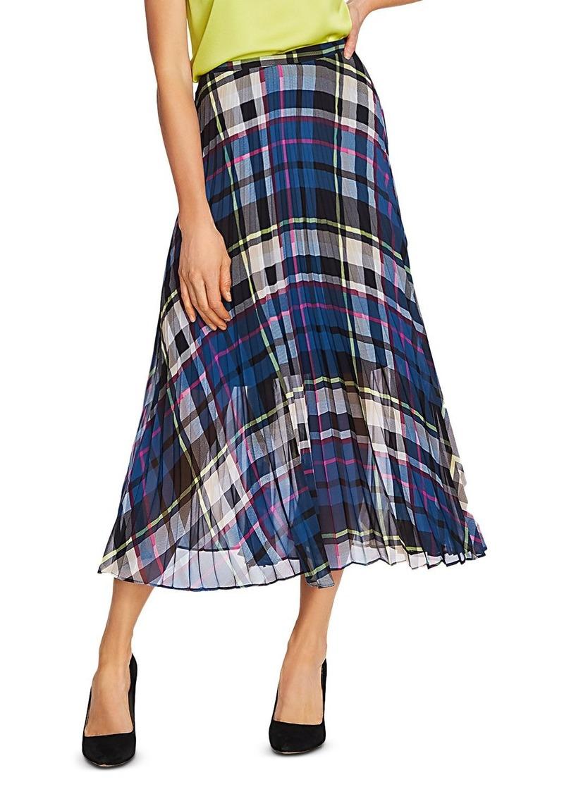 VINCE CAMUTO Plaid Escape Pleated Midi Skirt