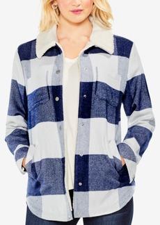 Vince Camuto Plaid Faux-Fur-Collar Jacket