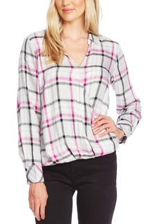 Vince Camuto Plaid Faux-Wrap Blouse