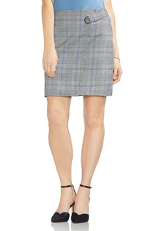 VINCE CAMUTO Plaid Faux-Wrap Skirt