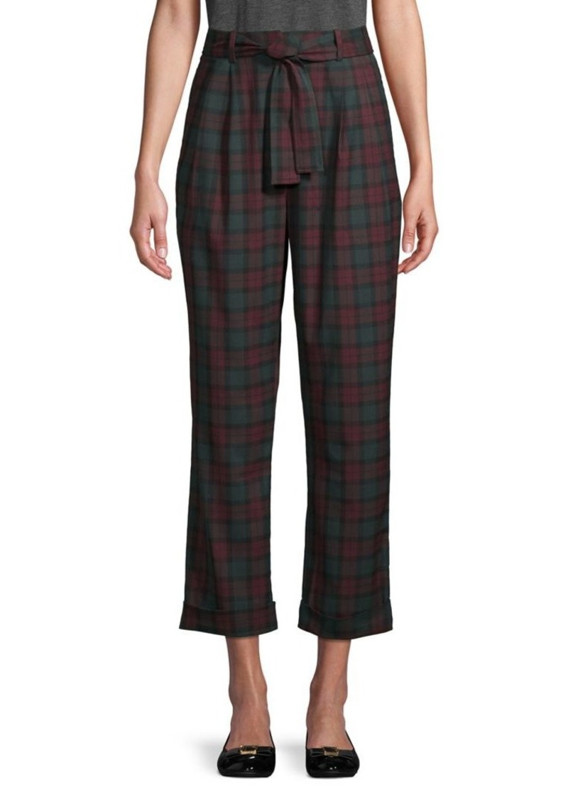Vince Camuto Plaid High-Rise Ankle Pants