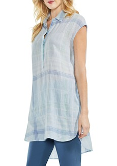 Vince Camuto Plaid Manor Henley Crinkle Stretch Cotton Top