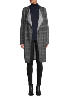 Vince Camuto Plaid Open Cotton Cardigan