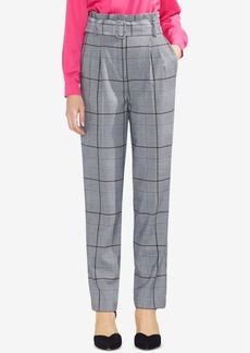 Vince Camuto Plaid Paperbag-Waist Belted Pants