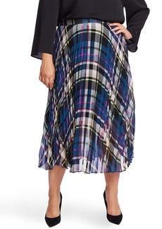 Vince Camuto Plaid Pleated Midi Skirt (Plus Size)