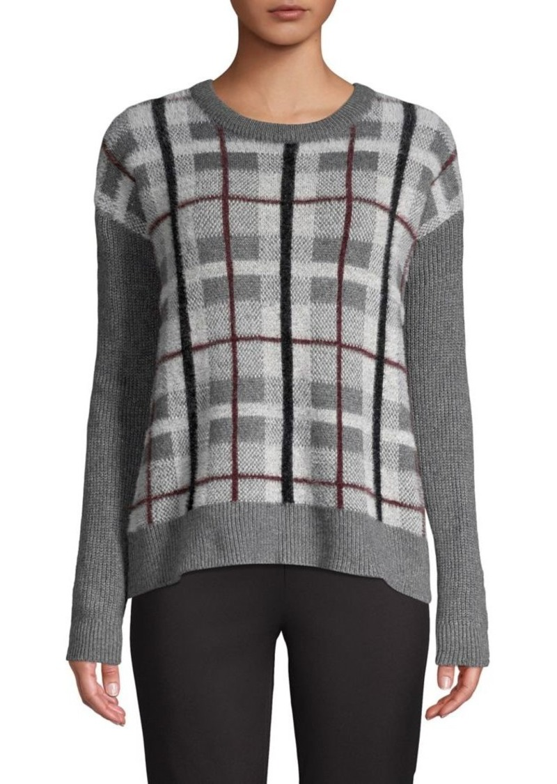 Vince Camuto Plaid-Print Textured Sweater