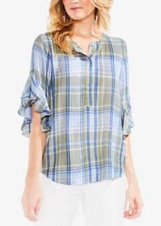 Vince Camuto Plaid Ruffle-Sleeve Plaid Shirt