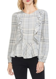 Vince Camuto Plaid Ruffle Top