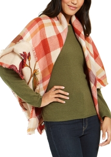 Vince Camuto Plaid To Floral Double Face Wrap