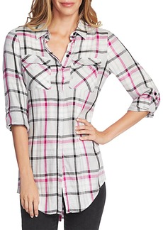 VINCE CAMUTO Plaid Tunic Shirt