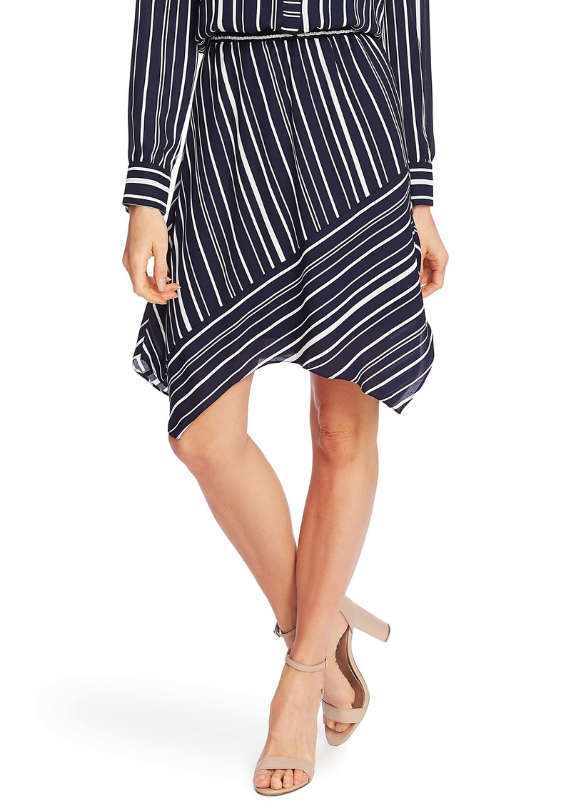 Vince Camuto Plain View Stripe Long Sleeve Asymmetrical Dress