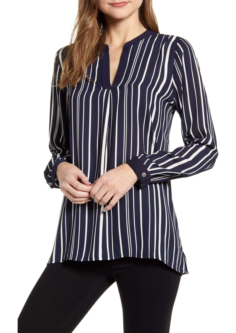 Vince Camuto Plain View Stripe Split Neck Top