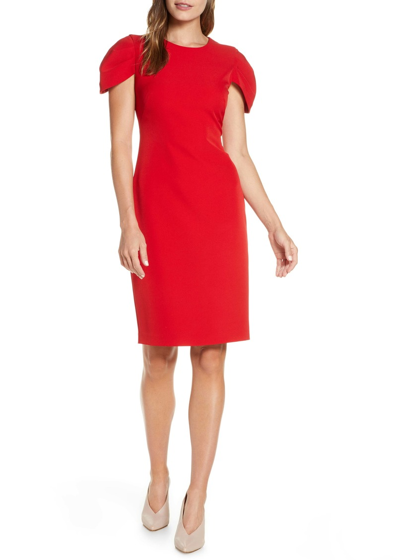 Vince Camuto Pleat Cap Sleeve Crepe Sheath Dress