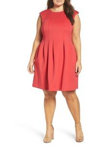 Vince Camuto Pleat Fit & Flare Dress (Plus Size)