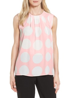 Vince Camuto Pleat Polka Dot Blouse