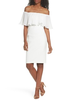 Vince Camuto Pleat Ruffle Off the Shoulder Dress
