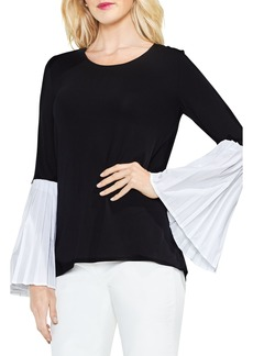 Vince Camuto Pleated Bell Sleeve Mix Media Top