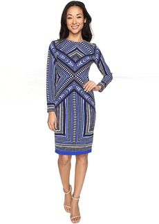 Vince Camuto Pleated Crepe Long Sleeve Bodycon Dress