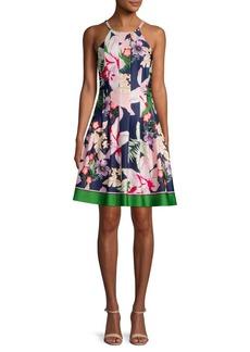 Vince Camuto Pleated Floral Border Halter Dress