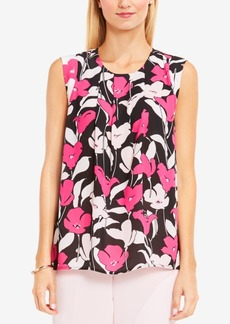 Vince Camuto Pleated Floral-Print Top
