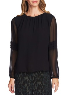 Vince Camuto Pleated Long Sleeve Chiffon Blouse