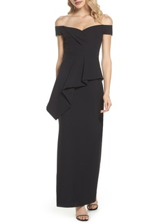 Vince Camuto Pleated Peplum Off the Shoulder Gown