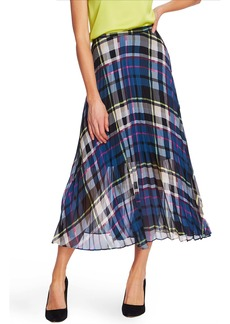 Vince Camuto Pleated Plaid Midi Skirt