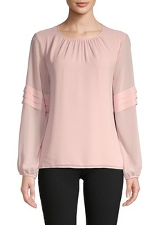 Vince Camuto Pleated Sleeve Roundneck Blouse