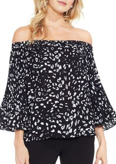 Vince Camuto Pleated Sleeves Printed Top